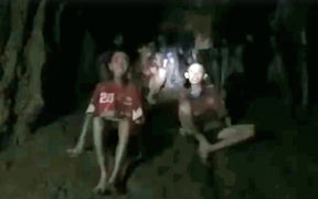 A still from video footage caught by Thai Navy Seals, who found the missing group of boys. They had been stuck in the flooded cave in Thailand for 10 days.