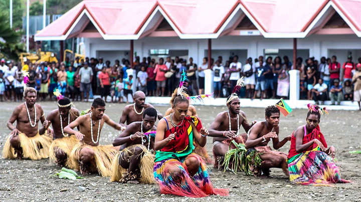 Cultural performers from Vanuatu at the 6th Melanesian Arts Festival in Solomon Islands.
