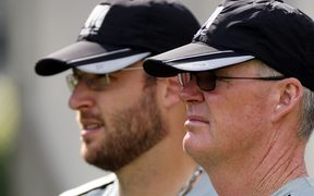 John Bracewell during his time as Black Caps captain.  Dan Vettori is alongside him.