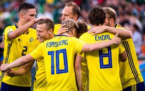 The Swedish football team celebrate a goal at the 2018 World Cup.