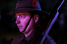 250414. Photo Diego Opatowski / RNZ. ANZAC Day celebrations in Wellington. Soldier on the Cenotaph.