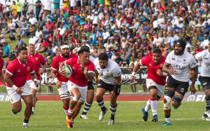 Sonatane Takalua kicked 12 points in Tonga's 27-19 victory over Fiji.