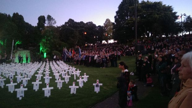 The service in Whangarei at a field of crosses in Laurie Hall Park.