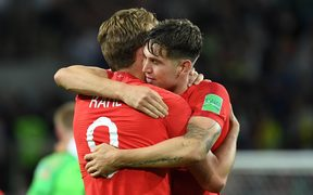 England's Harry Kane and John Stones celebrate winning the penalty shootout at the end of the Russia 2018 World Cup round of 16 football match between Colombia and England.