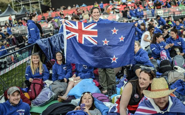 New Zealanders and Australians waiting for the ceremony to begin on Friday.