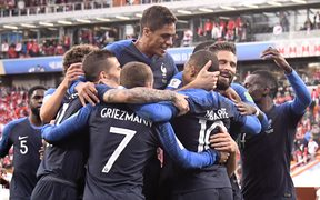 France celebrate a goal at the World Cup.