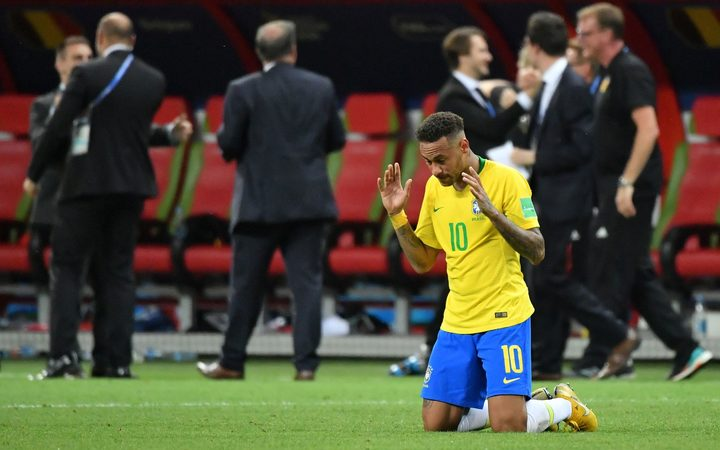 Brazil's Neymar reacts at the end of the team's 2-1 loss to Belgium during the Russia 2018 World Cup quarter-finals.