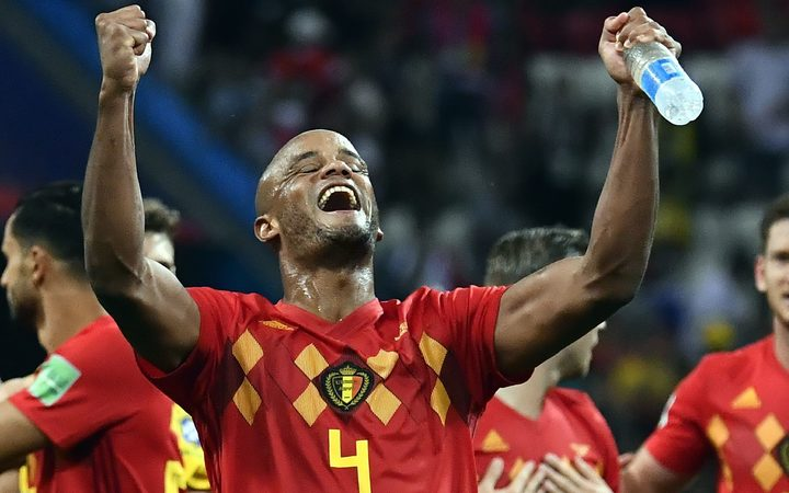 Belgium's Vincent Kompany celebrates after winning the quarter final against Brazil.