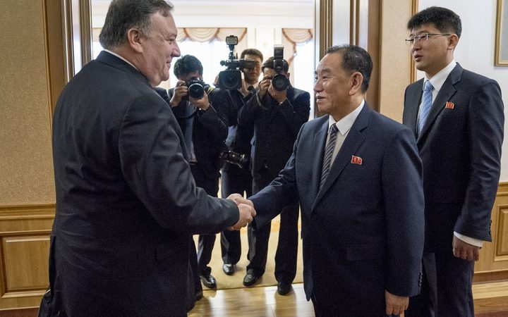 US Secretary of State Mike Pompeo shakes hands with Kim Yong Chol, a North Korean senior ruling party official and former intelligence chief, for a second day of talks at the Park Hwa Guest House in Pyongyang on July 7, 2018.