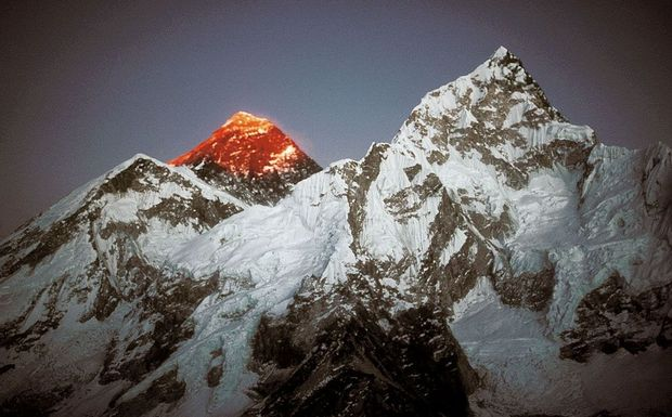 Sunset on the south west face of Mount Everest.