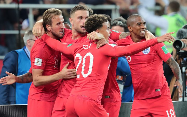 England celebrate a goal at the World Cup in Russia.