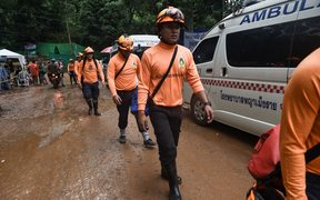 Rescue workers are seen at the Tham Luang cave.