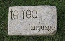 "stone sign saying ""te reo language"""