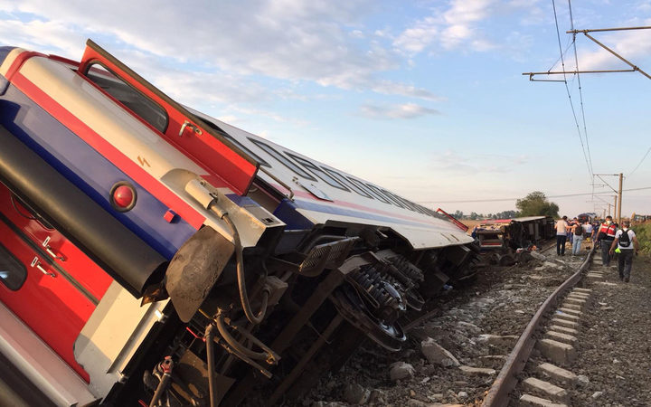 A derailed train following a train accident at Corlu district, in Tekirdag.