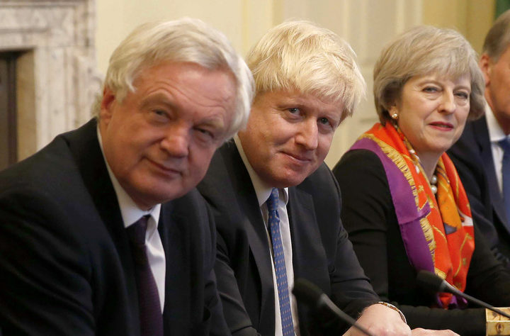 British Prime Minister Theresa May in November 2016 with then-Foreign Secretary Boris Johnson (centre) and Brexit Minister David Davis.