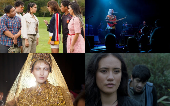 New Zealand films in 2018 include (clockwise from top left) The Breaker Upperers; Herbs - Songs of Freedom; Maui's Hook and Yellow is Forbidden.