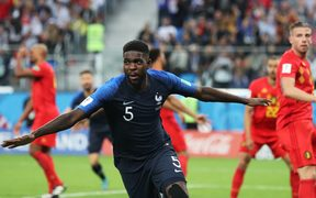 France's Samuel Umtiti after scoring the winning goal against Belgium at Saint Petersburg Stadium.