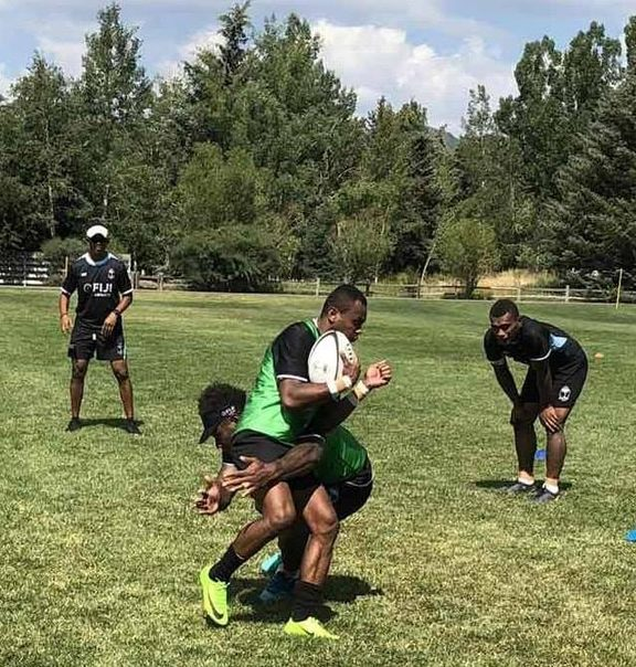 Fiji players training in Utah ahead of the Rugby World Cup Sevens later this month.