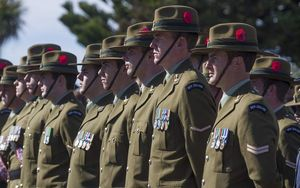 Soldiers during an Anzac parade.