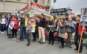 More than 100 people attended a free-speech rally in Auckland today.