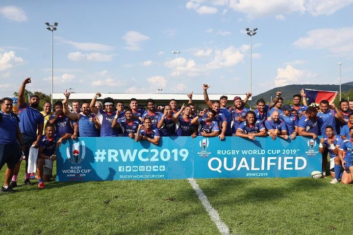 Samoa celebrate qualifying for Rugby World Cup 2019.