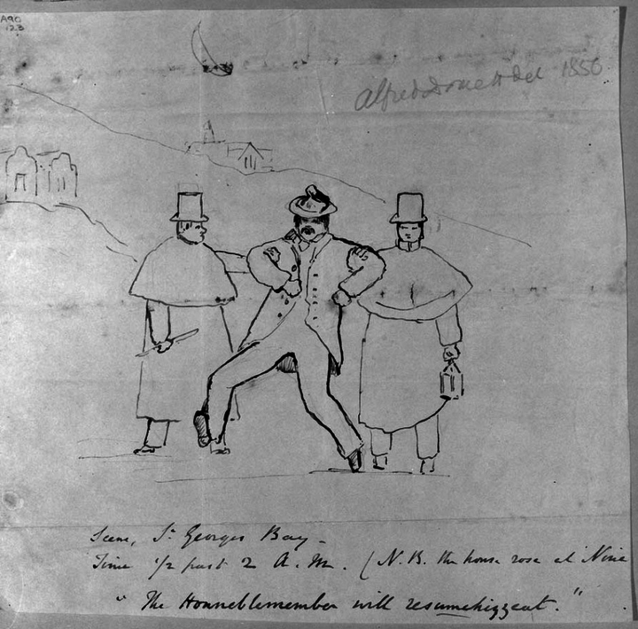 Alfred Domett's 1856 sketch of a parliamentarian, flanked by two police officers, staggering home from parliament worse for wear.