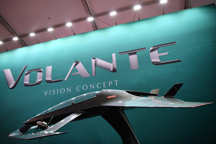 A model of the Aston Martin Vision Volante Concept aircraft is displayed at the Farnborough Airshow, south west of London, on July 17, 2018.