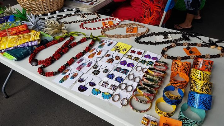 Craft for sale made by women from the Nofotane Project, Samoa.