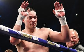 Joseph Parker waves to his supporters as he leaves the ring after his fight against Anthony Joshua in March.