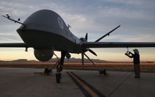 A Predator drone at a United States airstrip.
