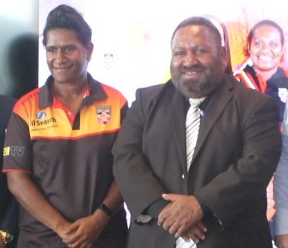 PNG Orchids captain Cathy Neap and PNGRFL Chair Sandis Tsaka.