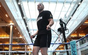 Joseph Parker works out ahead of his fight against Dillian Whyte in London.