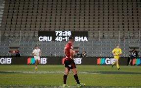Ryan Crotty of the Crusaders in front of empty stands during the Super Rugby semi final against the Sharks at AMI Stadium.