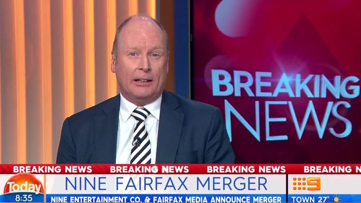 Australian TV channel Nine breaks the news that it's taking over publisher Fairfax Media.