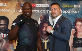 Dillian Whyte (L) and Joseph Parker at the final press conference before their heavyweight bout in London.
