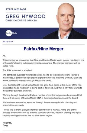The email Fairfax staff received as the merger news broke.