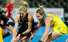 Blacks Sticks captain Stacey Michelsen and Australian Edwina Bone