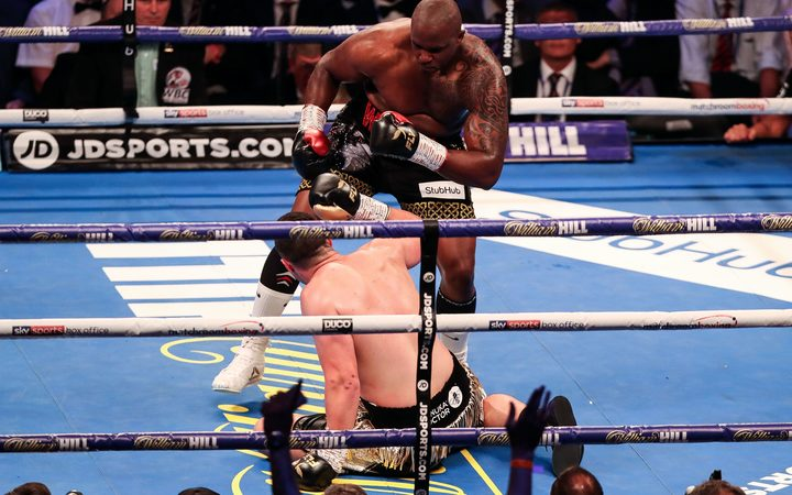 Joseph Parker hits the canvas against Dillian Whyte.