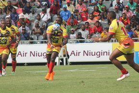 PNG Hunters captain Ase Boas sends the ball wide.