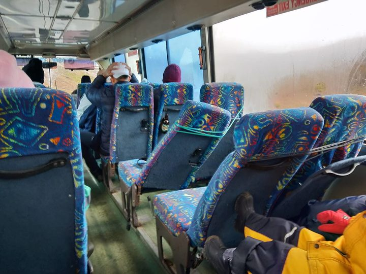 Photos taken inside a bus, understood to be operated by Ruapehu Alpine Lifts, show seats tied up with wire.
