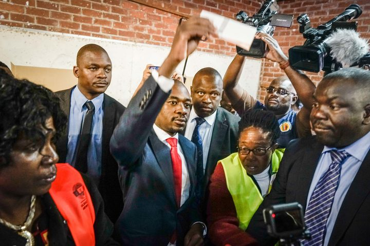 Zimbabwe's opposition leader Nelson Chamisa casts his vote.