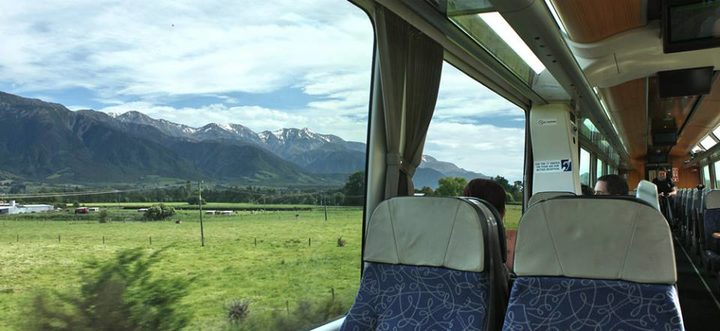 The view from KiwiRail's Coastal Pacific train, just south of Kaikōura.