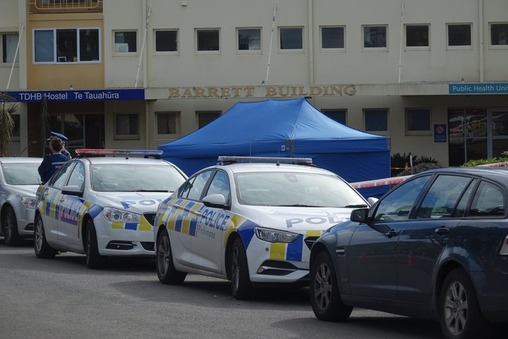 Police cordon off an area at Taranaki Base Hospital after a shooting incident.