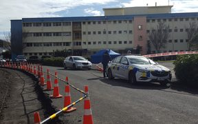 The police cordon at Taranaki Base Hospital.