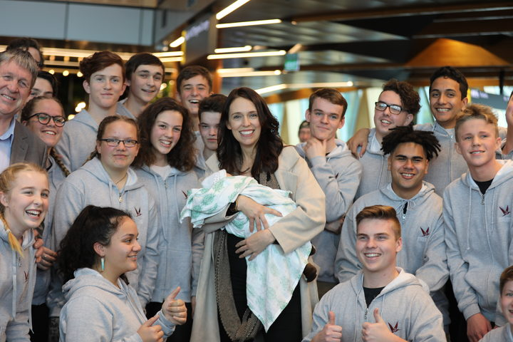 Students from Nayland College sang the family a song as they arrived in Wellington.