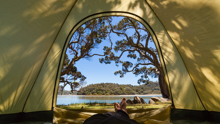 view of ocean from a tent