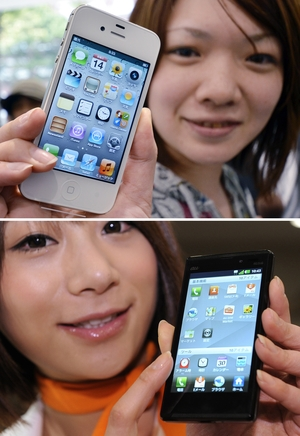 Apple  (iPhone 4S at top) said the South Korean company Samsung could not have competed in the smartphone market without copying its flagship product. Samsung (Galaxy S II at bottom) said Apple had vastly exaggerated the importance of its patented iPhone features.