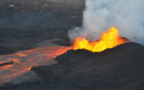 This image obtained June 5, 2018, from the US Geological Survey (USGS) shows an aerial view of lava fountains continuing at fissure 8