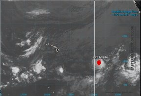 A satellite image, supplied by the US National Weather Service, shows Hurricane Hector, a category four, as it moves towards the south of Hawaii.