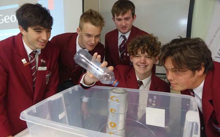 Kadyn Newport, Rhyva van Onselen, Shane McDonald, Brad Selwood and Ben Gardiner from St John's College in Hastings,  have developed a low-cost rain and flood monitor that sends real-time information via text.